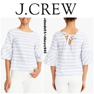 J. Crew striped bell sleeve tie back top 2